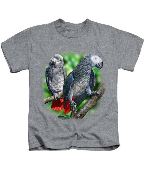 African Grey Parrots A Kids T-Shirt by Owen Bell