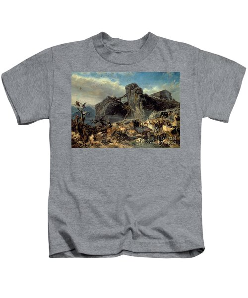 Animals Leaving The Ark, Mount Ararat  Kids T-Shirt by Filippo Palizzi