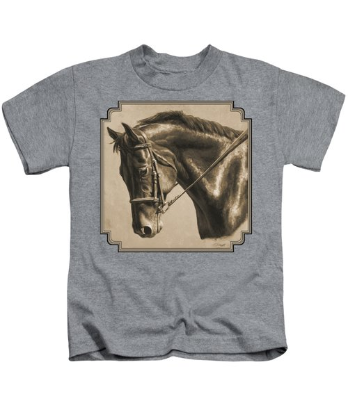 Horse Painting - Focus In Sepia Kids T-Shirt by Crista Forest