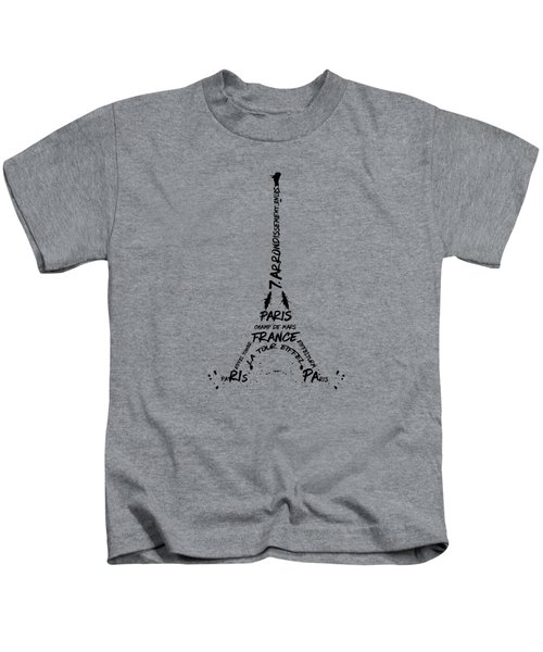 Digital Art Eiffel Tower Pattern Kids T-Shirt by Melanie Viola