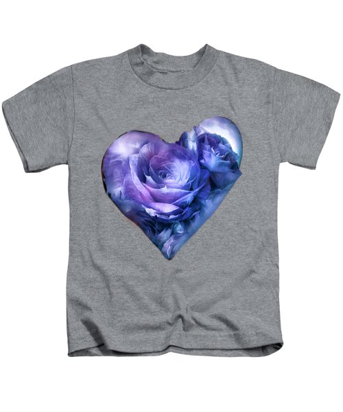 Heart Of A Rose - Lavender Blue Kids T-Shirt by Carol Cavalaris
