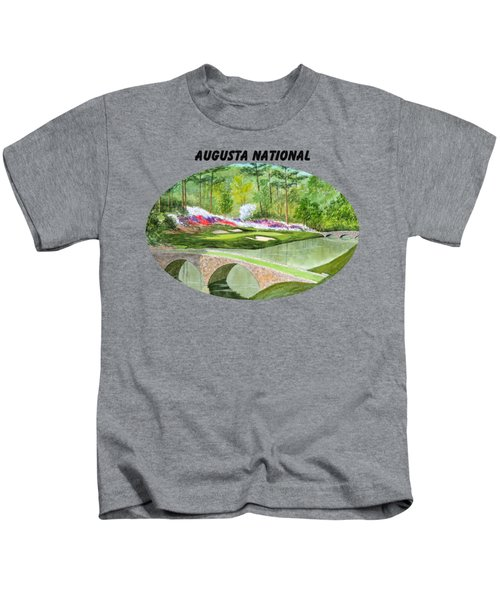 Augusta National Golf Course With Banner Kids T-Shirt by Bill Holkham