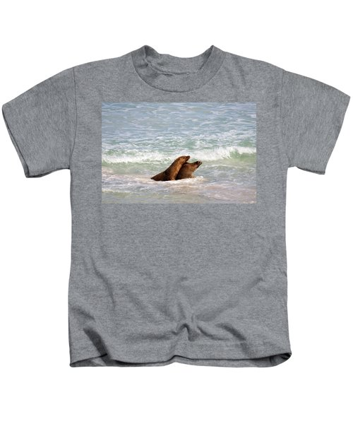 Battle For The Beach Kids T-Shirt by Mike  Dawson