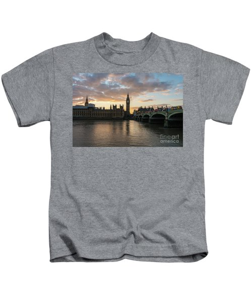 Big Ben London Sunset Kids T-Shirt by Mike Reid