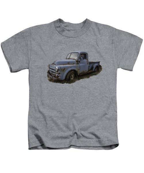 Big Blue Dodge Alone Kids T-Shirt by Debra and Dave Vanderlaan
