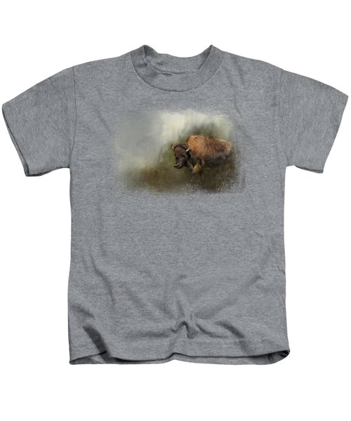 Bison After The Mud Bath Kids T-Shirt by Jai Johnson