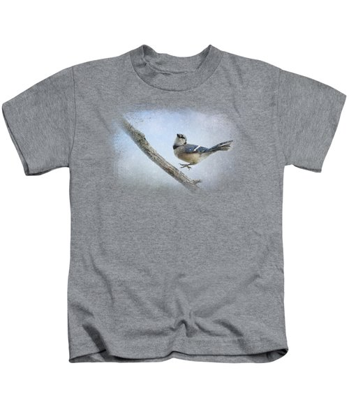 Blue Jay In The Snow Kids T-Shirt by Jai Johnson