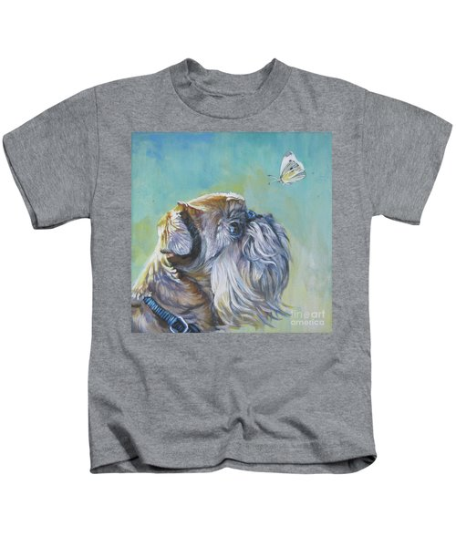 Brussels Griffon With Butterfly Kids T-Shirt by Lee Ann Shepard