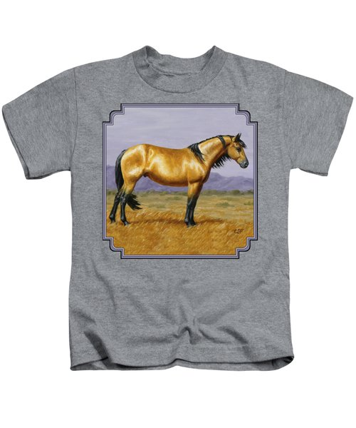 Buckskin Mustang Stallion Kids T-Shirt by Crista Forest