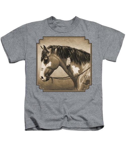Buckskin War Horse In Sepia Kids T-Shirt by Crista Forest