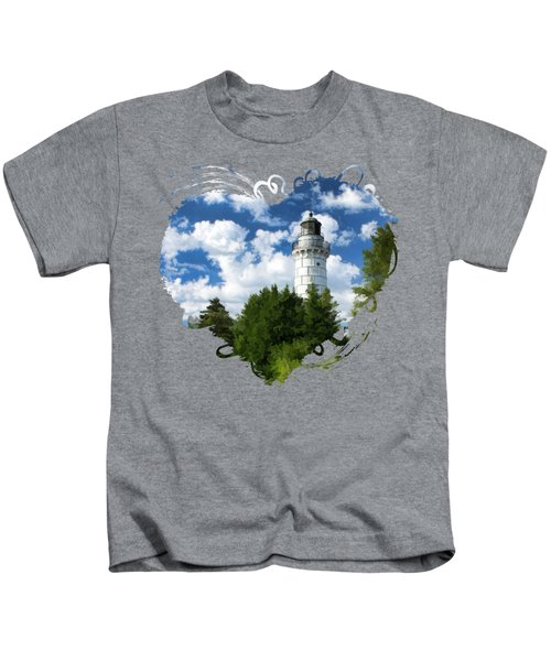 Cana Island Lighthouse Cloudscape In Door County Kids T-Shirt by Christopher Arndt