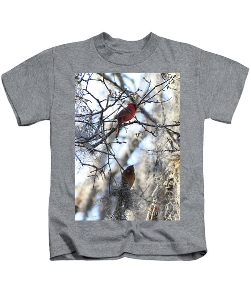 Cardinals In Mossy Tree Kids T-Shirt by Carol Groenen