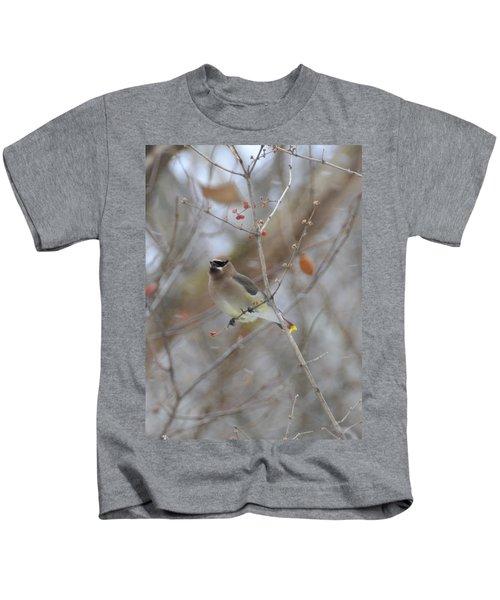Cedar Wax Wing 2 Kids T-Shirt by David Arment