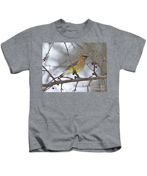 Cedar Wax Wing-2 Kids T-Shirt by Robert Pearson