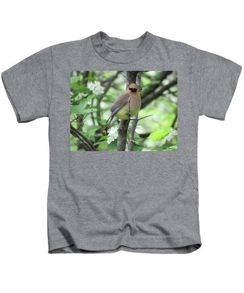 Cedar Wax Wing Kids T-Shirt by Alison Gimpel