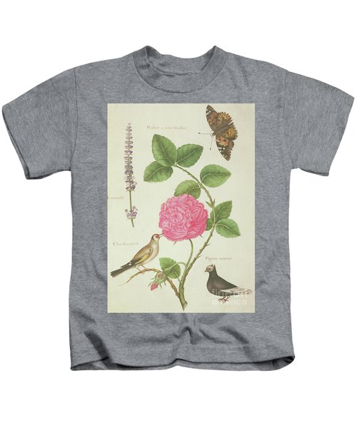 Centifolia Rose, Lavender, Tortoiseshell Butterfly, Goldfinch And Crested Pigeon Kids T-Shirt by Nicolas Robert