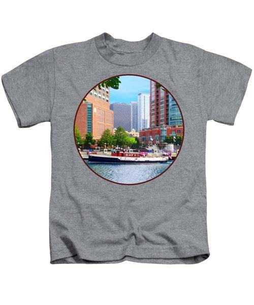 Chicago Il - Chicago River Near Centennial Fountain Kids T-Shirt by Susan Savad