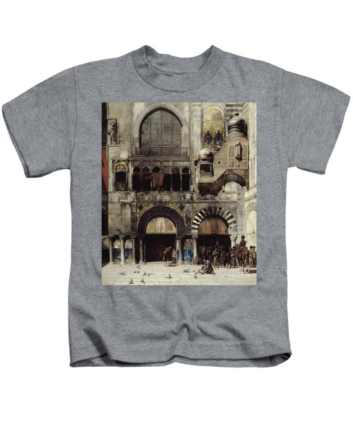 Circassian Cavalry Awaiting Their Commanding Officer At The Door Of A Byzantine Monument Kids T-Shirt by Alberto Pasini