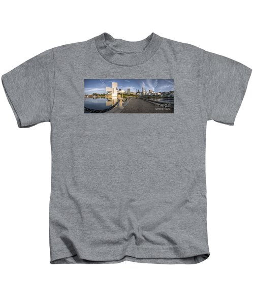 Cleveland Panorama Kids T-Shirt by James Dean