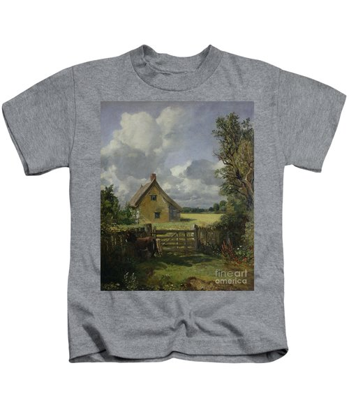 Cottage In A Cornfield Kids T-Shirt by John Constable
