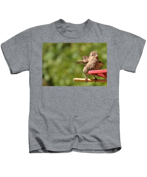 Crossbill Female At Feeder        Summer       Indiana Kids T-Shirt by Rory Cubel