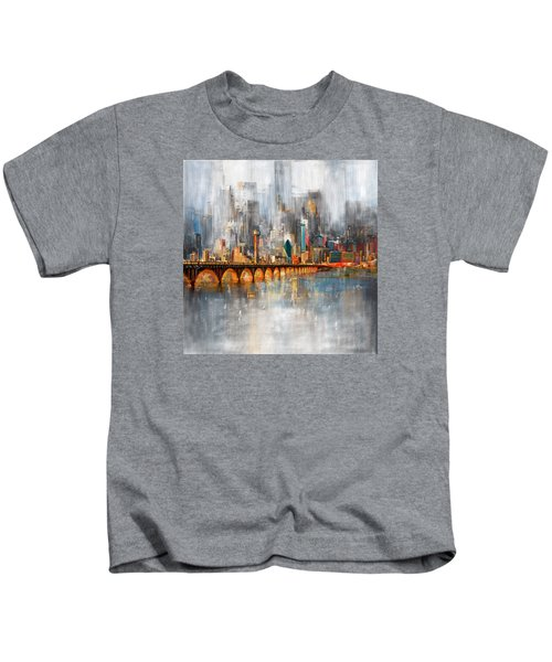 Dallas Skyline 217 1 Kids T-Shirt by Mawra Tahreem