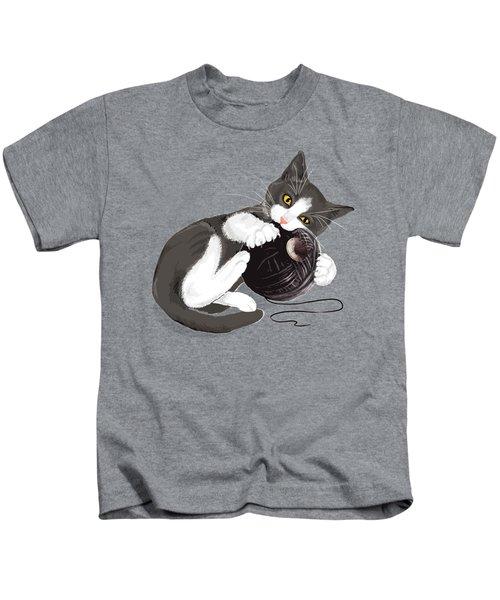 Death Star Kitty Kids T-Shirt by Olga Shvartsur