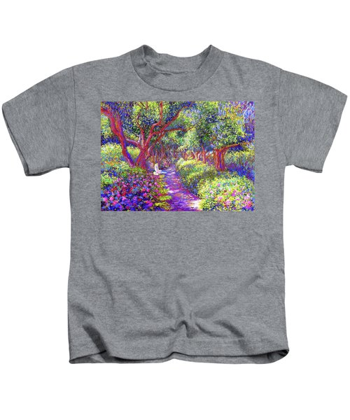 Dove And Healing Garden Kids T-Shirt by Jane Small