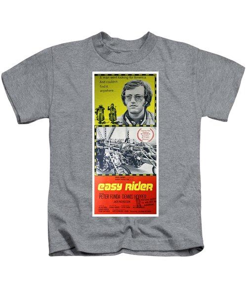 Easy Rider Movie Lobby Poster  1969 Kids T-Shirt by Daniel Hagerman