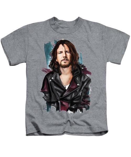 Eddie Vedder Kids T-Shirt by Melanie D