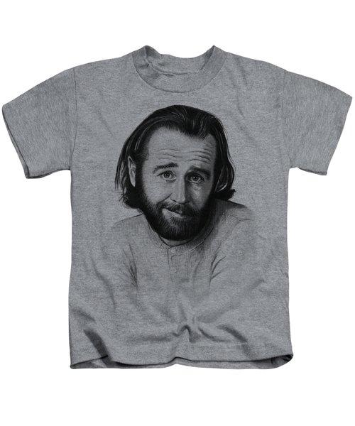 George Carlin Portrait Kids T-Shirt by Olga Shvartsur