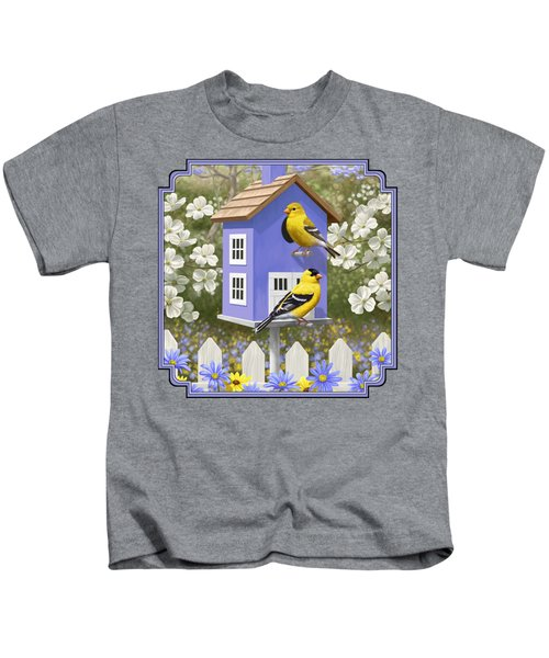 Goldfinch Garden Home Kids T-Shirt by Crista Forest