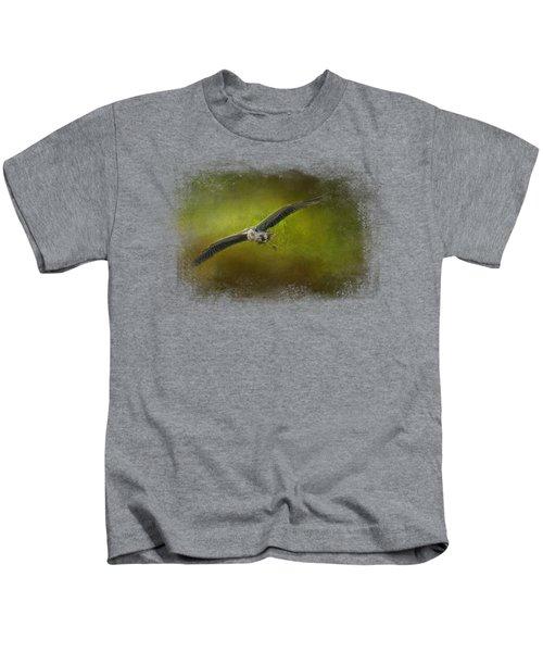 Great Blue Heron In The Grove Kids T-Shirt by Jai Johnson