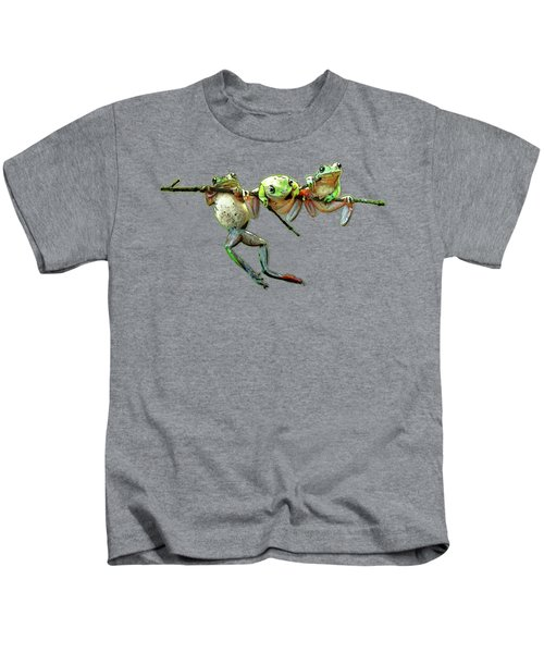 Hang In There Froggies Kids T-Shirt by Elaine Plesser