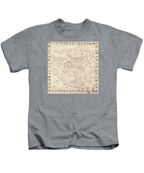 Hollywood Map To The Stars 1937 Kids T-Shirt by Don Boggs