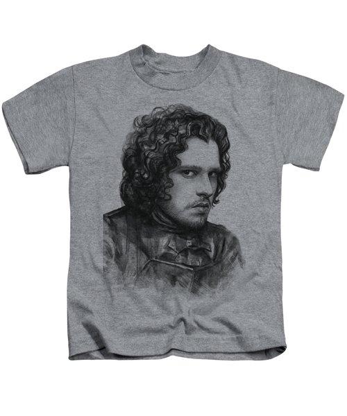 Jon Snow Game Of Thrones Kids T-Shirt by Olga Shvartsur