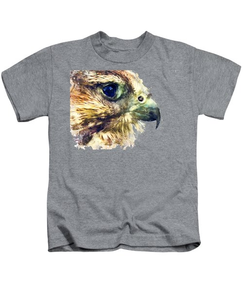 Kestrel Watercolor Painting Kids T-Shirt by Justyna JBJart