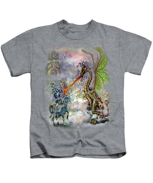 Knights N Dragons Kids T-Shirt by Kevin Middleton
