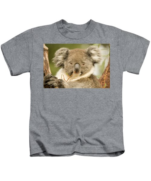 Koala Snack Kids T-Shirt by Mike  Dawson