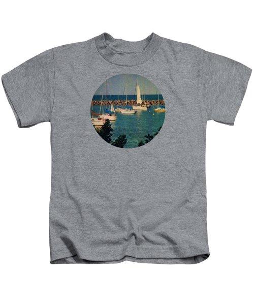 Lake Michigan Sailboats Kids T-Shirt by Mary Wolf