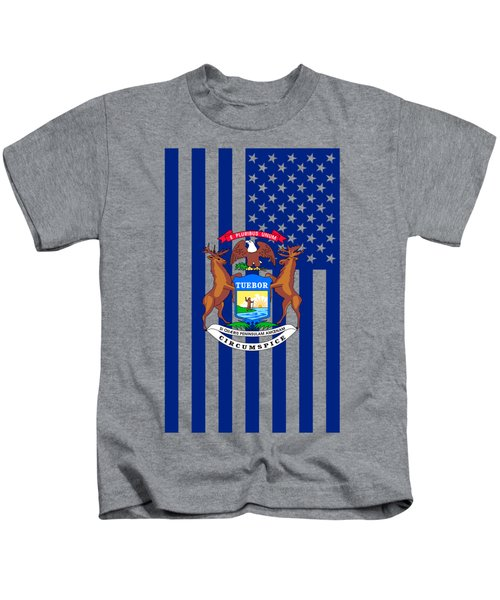 Michigan State Flag Graphic Usa Styling Kids T-Shirt by Garaga Designs