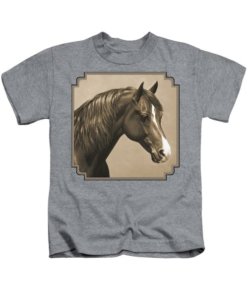 Morgan Horse Painting In Sepia Kids T-Shirt by Crista Forest
