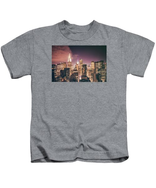 New York City Skyline - Night Kids T-Shirt by Vivienne Gucwa