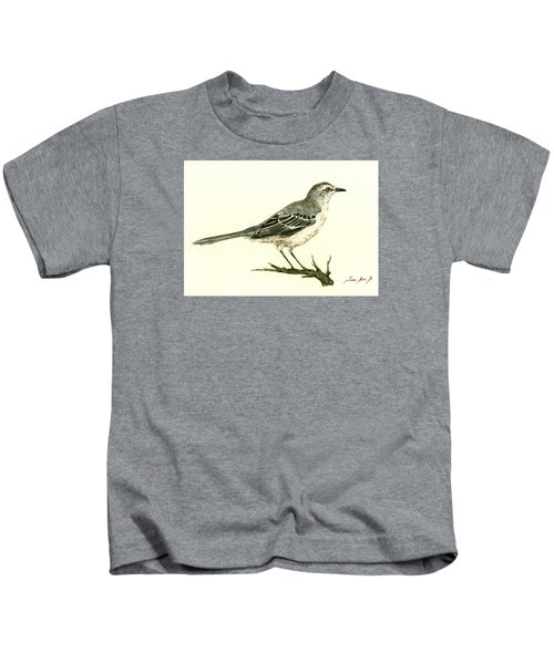 Northern Mockingbird Kids T-Shirt by Juan  Bosco
