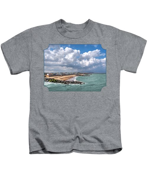 Ocean View - Colorful Beach Huts Kids T-Shirt by Gill Billington