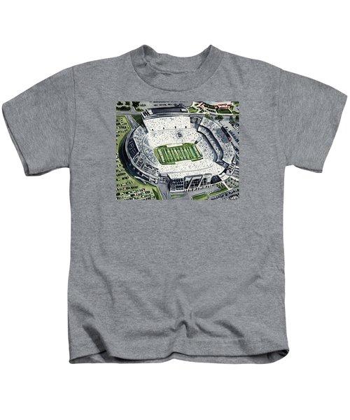 Penn State Beaver Stadium Whiteout Game University Psu Nittany Lions Joe Paterno Kids T-Shirt by Laura Row