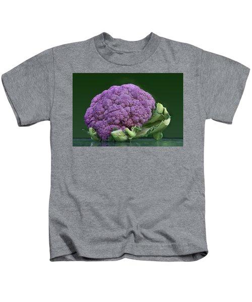 Purple Cauliflower Kids T-Shirt by Nikolyn McDonald