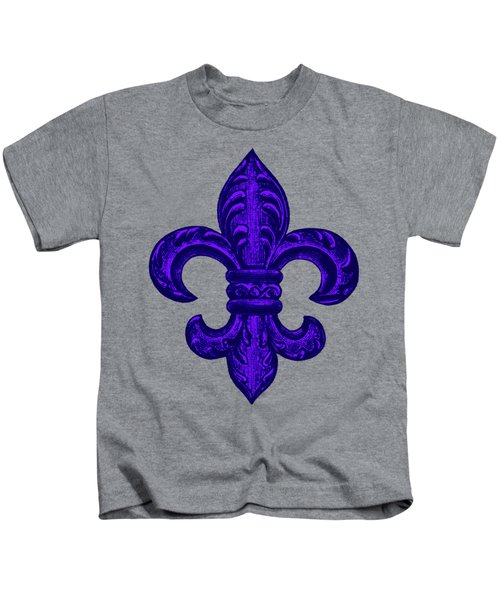 Purple French Fleur De Lys, Floral Swirls Kids T-Shirt by Tina Lavoie