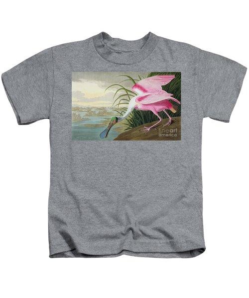 Roseate Spoonbill Kids T-Shirt by John James Audubon