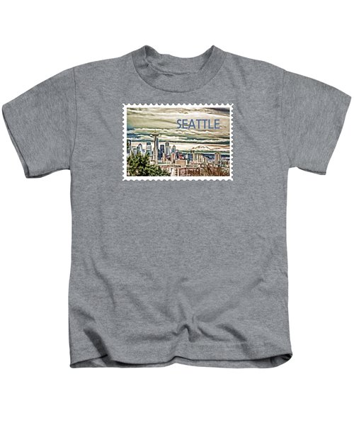 Seattle Skyline In Fog And Rain Text Seattle Kids T-Shirt by Elaine Plesser